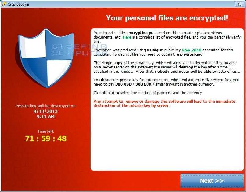 Finestra di dialogo di estorsione di CryptoLocker Ransomware