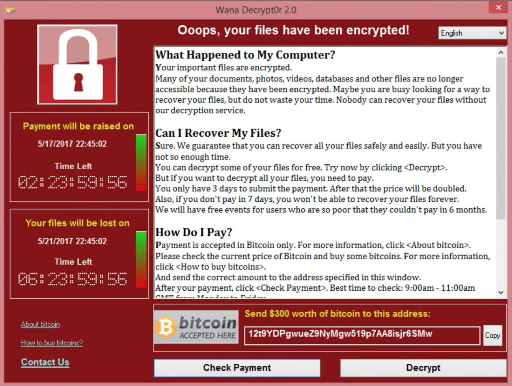 Finestra di dialogo di estorsione di WannaCry Ransomware