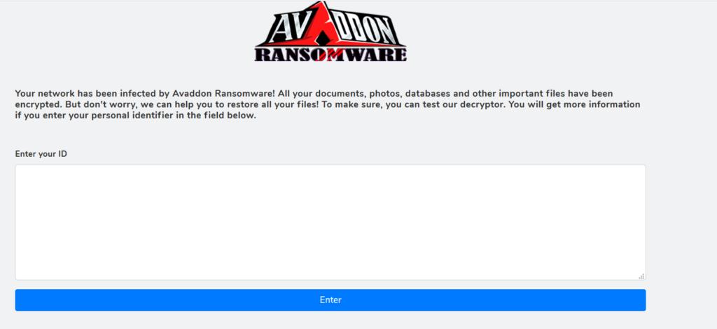 Avaddon ransomware onion site