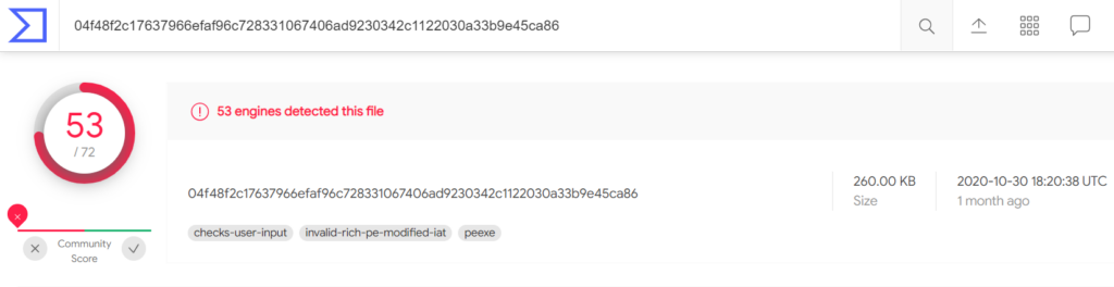 Conti Ransomware VirusTotal IoC